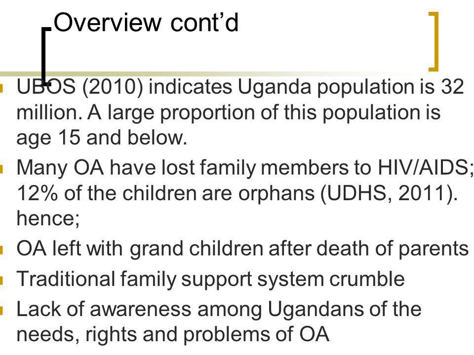 Overview contd UBOS (2010) indicates Uganda population is 32 million.
