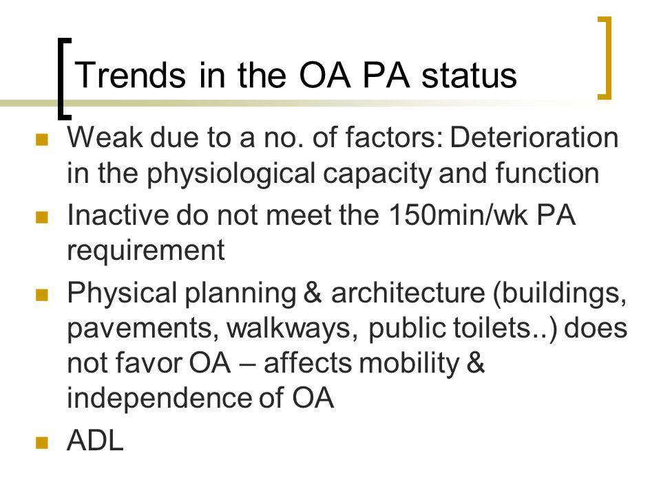 Trends in the OA PA status Weak due to a no.