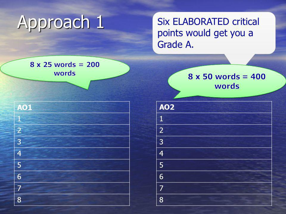 Approach 1 Six ELABORATED critical points would get you a Grade A. AO1 1 2 3 4 5 6 7 8 AO2 1 2 3 4 5 6 7 8
