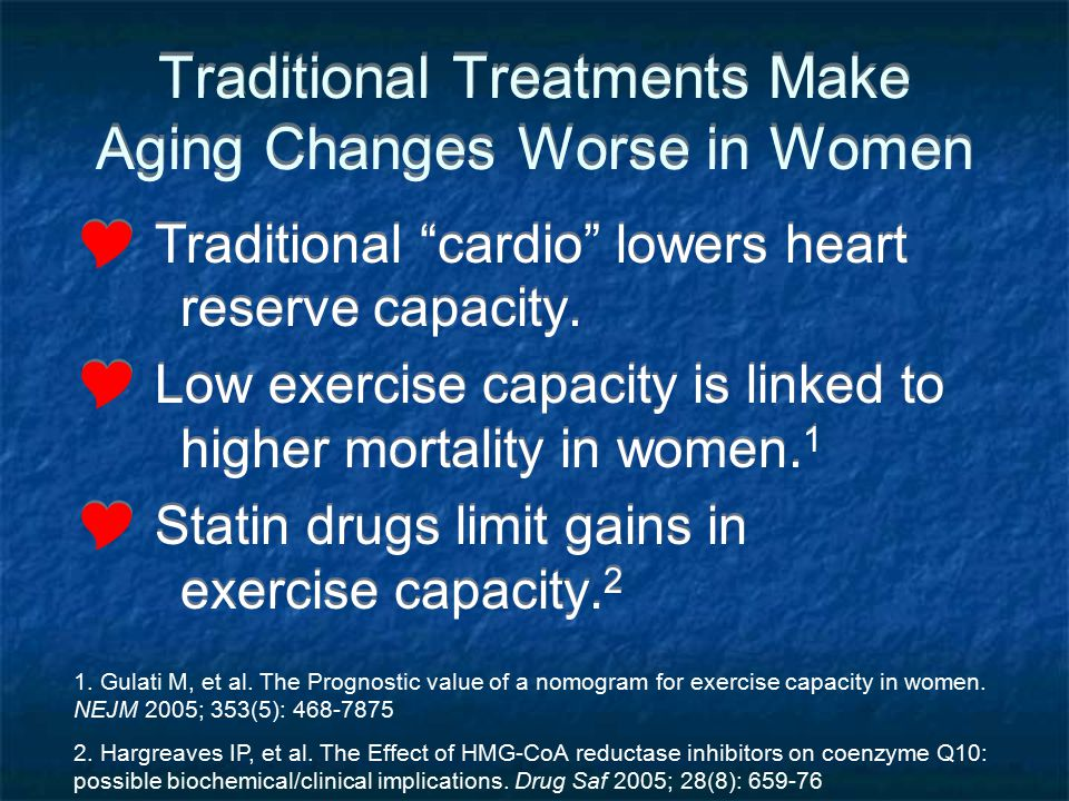 Traditional Treatments Make Aging Changes Worse in Women Traditional cardio lowers heart reserve capacity. Low exercise capacity is linked to higher m