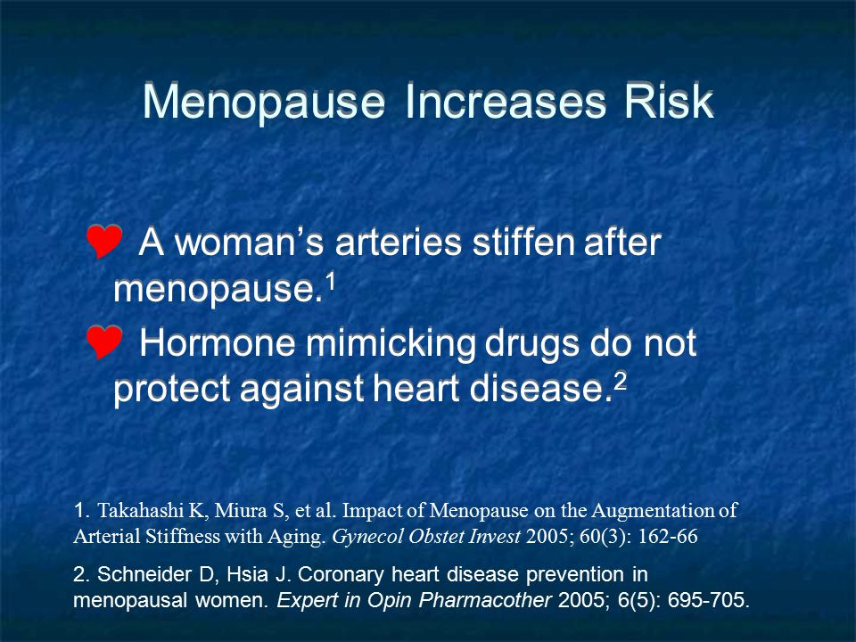 Menopause Increases Risk A womans arteries stiffen after menopause. 1 Hormone mimicking drugs do not protect against heart disease. 2 A womans arterie
