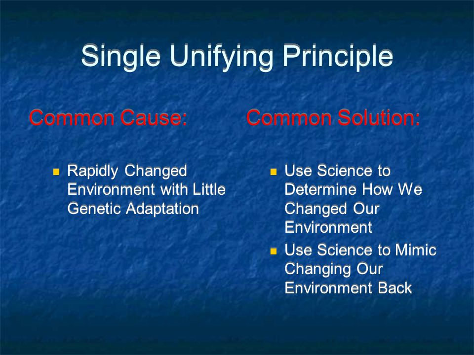 Single Unifying Principle Common Cause: Rapidly Changed Environment with Little Genetic Adaptation Common Cause: Rapidly Changed Environment with Litt