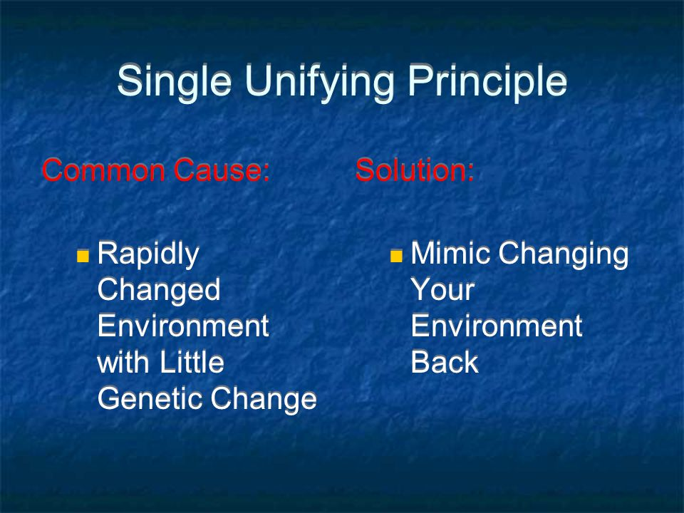 Single Unifying Principle Common Cause: Rapidly Changed Environment with Little Genetic Change Common Cause: Rapidly Changed Environment with Little G