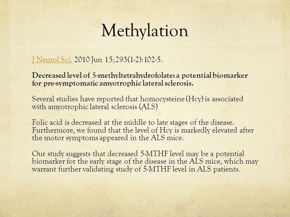 Methylation J Neurol Sci.J Neurol Sci.2010 Jun 15;293(1-2):102-5.
