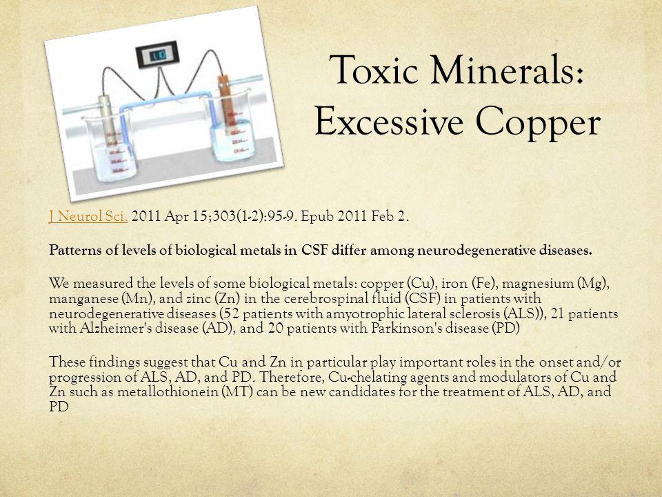 Toxic Minerals: Excessive Copper J Neurol Sci.J Neurol Sci.
