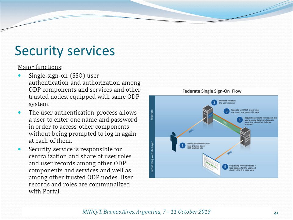 41 Security services Major functions: Single-sign-on (SSO) user authentication and authorization among ODP components and services and other trusted n