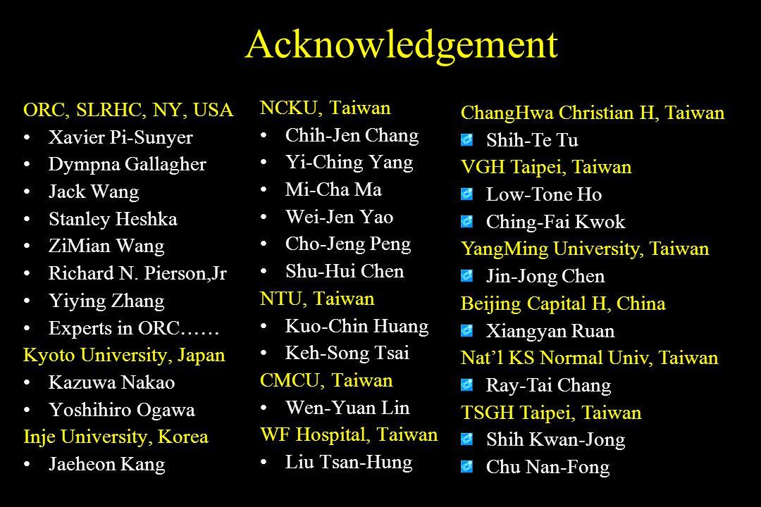 Acknowledgement ORC, SLRHC, NY, USA Xavier Pi-Sunyer Dympna Gallagher Jack Wang Stanley Heshka ZiMian Wang Richard N. Pierson,Jr Yiying Zhang Experts