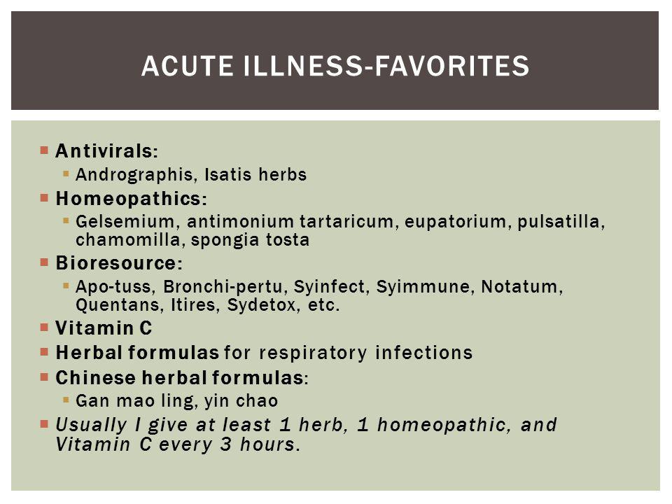 Antivirals: Andrographis, Isatis herbs Homeopathics: Gelsemium, antimonium tartaricum, eupatorium, pulsatilla, chamomilla, spongia tosta Bioresource: Apo-tuss, Bronchi-pertu, Syinfect, Syimmune, Notatum, Quentans, Itires, Sydetox, etc.
