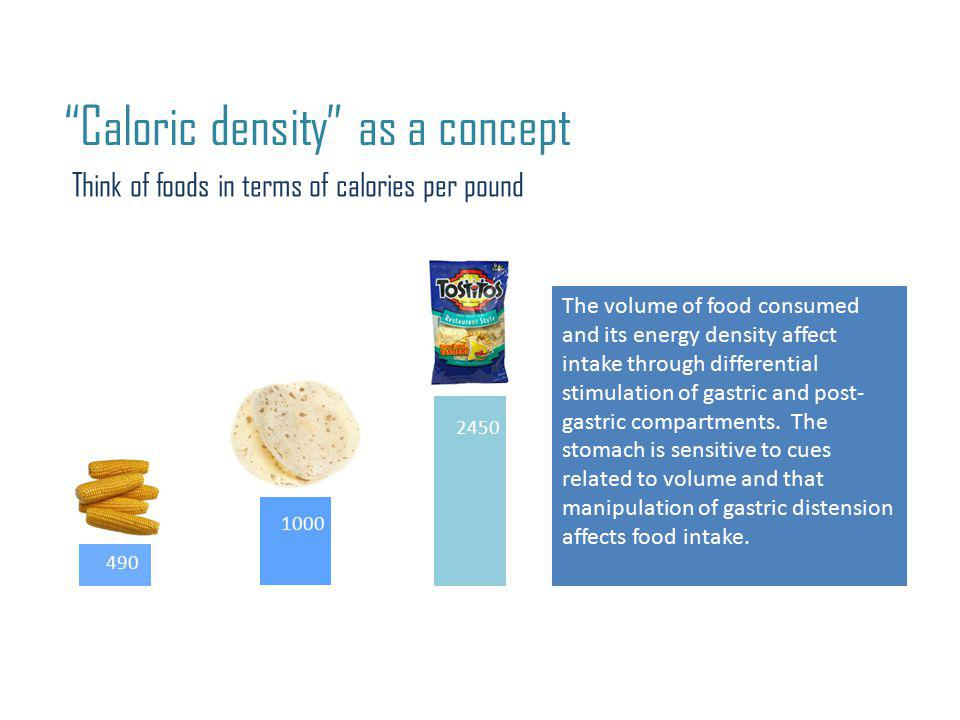 Caloric density as a concept Think of foods in terms of calories per pound 490 2450 1000 The volume of food consumed and its energy density affect intake through differential stimulation of gastric and post- gastric compartments.