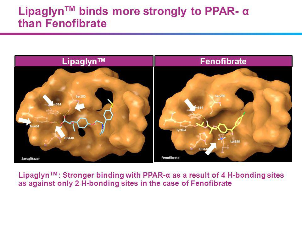 Lipaglyn TM : Stronger binding with PPAR-α as a result of 4 H-bonding sites as against only 2 H-bonding sites in the case of Fenofibrate Lipaglyn TM F