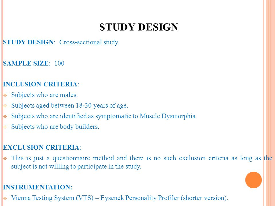 STUDY DESIGN STUDY DESIGN: Cross-sectional study. SAMPLE SIZE: 100 INCLUSION CRITERIA: Subjects who are males. Subjects aged between 18-30 years of ag