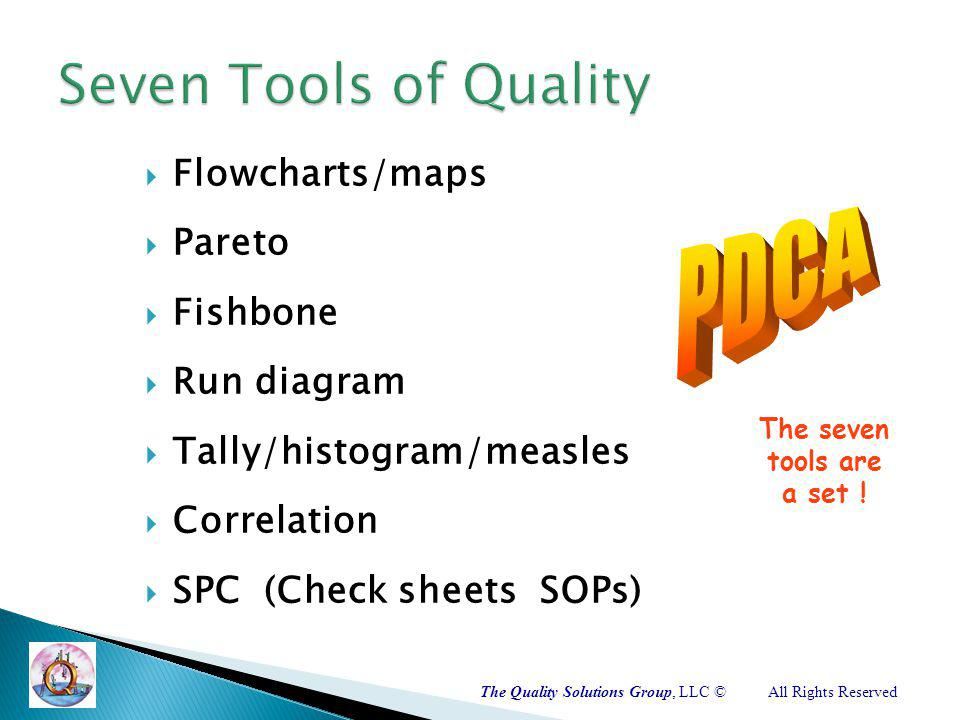 The Quality Solutions Group, LLC ©All Rights Reserved Flowcharts/maps Pareto Fishbone Run diagram Tally/histogram/measles Correlation SPC (Check sheets SOPs) The seven tools are a set !