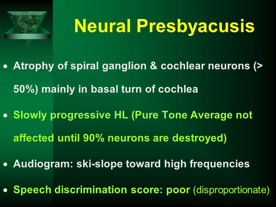 Neural Presbyacusis Atrophy of spiral ganglion & cochlear neurons (> 50%) mainly in basal turn of cochlea Slowly progressive HL (Pure Tone Average not