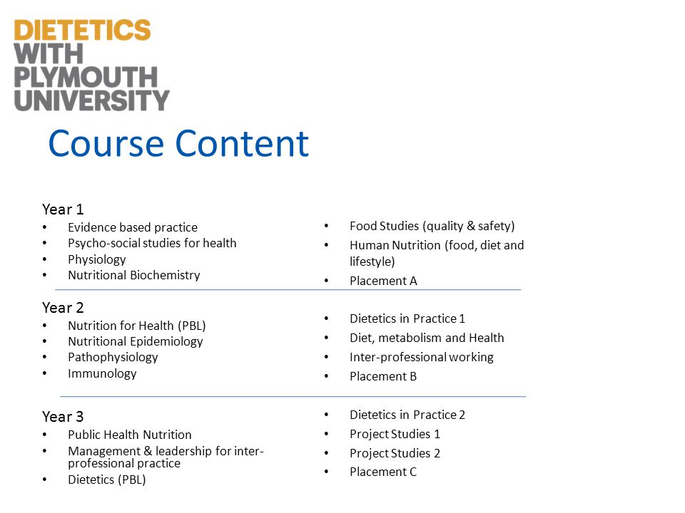 Course Content Year 1 Evidence based practice Psycho-social studies for health Physiology Nutritional Biochemistry Year 2 Nutrition for Health (PBL) Nutritional Epidemiology Pathophysiology Immunology Year 3 Public Health Nutrition Management & leadership for inter- professional practice Dietetics (PBL) Food Studies (quality & safety) Human Nutrition (food, diet and lifestyle) Placement A Dietetics in Practice 1 Diet, metabolism and Health Inter-professional working Placement B Dietetics in Practice 2 Project Studies 1 Project Studies 2 Placement C