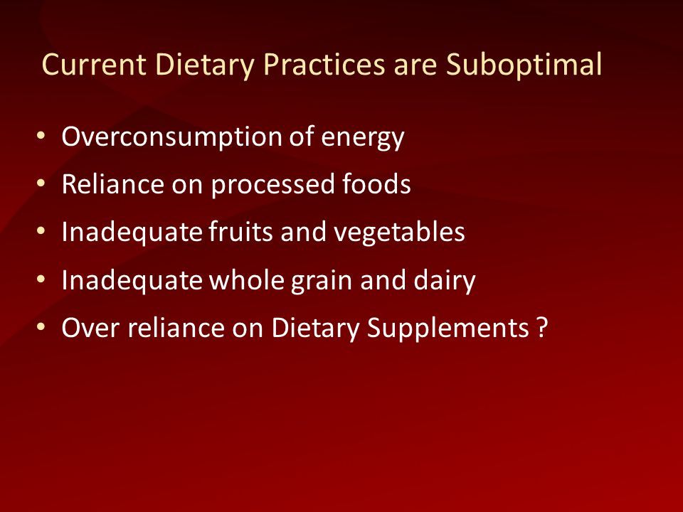 Current Dietary Practices are Suboptimal Overconsumption of energy Reliance on processed foods Inadequate fruits and vegetables Inadequate whole grain and dairy Over reliance on Dietary Supplements