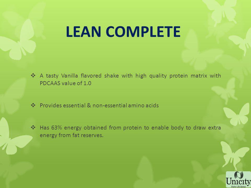 LEAN COMPLETE High-protein, low-carbohydrate meal replacement that provides required nutrients and helps to keep you full until your next meal The high protein helps body preserve lean muscle mass and draw extra energy from fat reserves thus resulting in fat loss - weight loss Specially designed keeping Indian diets in mind which are rich in carbohydrates The excess carbohydrates stored in the body as glycogen and fat in adipose tissues is converted to energy
