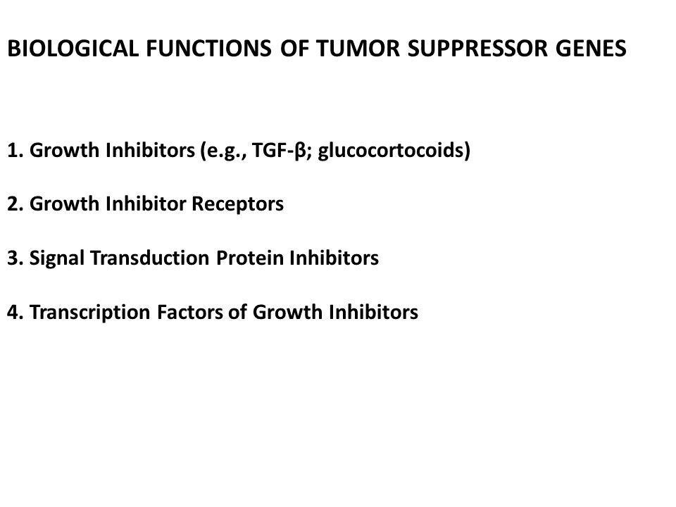 BIOLOGICAL FUNCTIONS OF TUMOR SUPPRESSOR GENES 1. Growth Inhibitors (e.g., TGF-β; glucocortocoids) 2. Growth Inhibitor Receptors 3. Signal Transductio