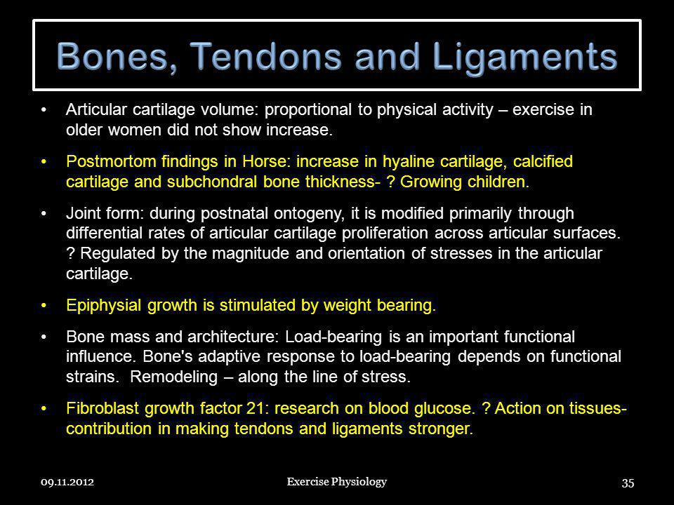 Articular cartilage volume: proportional to physical activity – exercise in older women did not show increase. Postmortom findings in Horse: increase