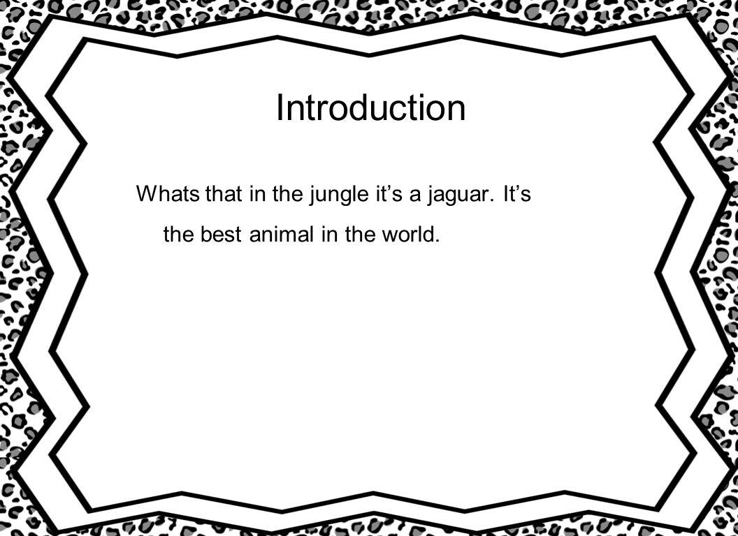 Introduction Whats that in the jungle its a jaguar. Its the best animal in the world.