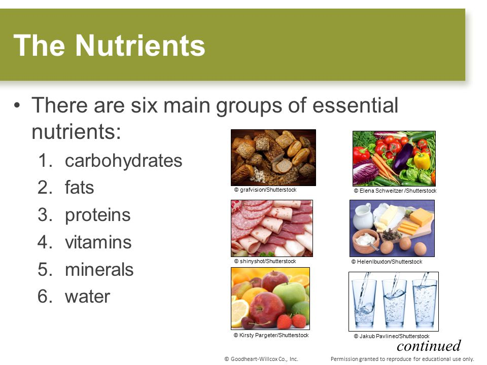 Keywords categories of nutrients and Tags