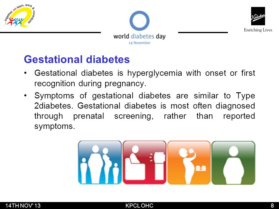 Gestational diabetes Gestational diabetes is hyperglycemia with onset or first recognition during pregnancy. Symptoms of gestational diabetes are simi