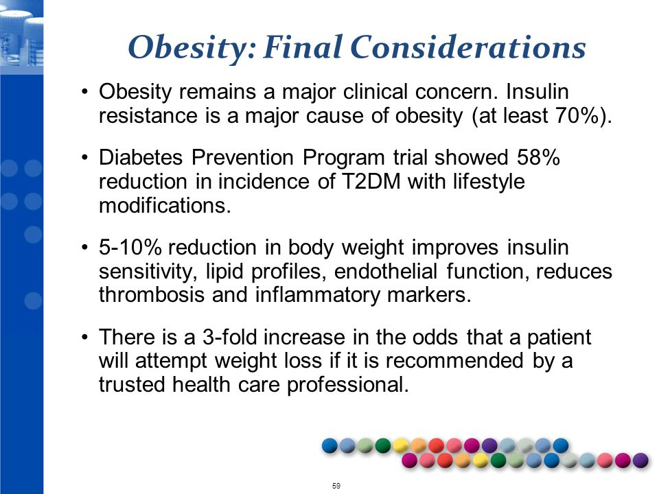 © 2010 59 Obesity: Final Considerations Obesity remains a major clinical concern. Insulin resistance is a major cause of obesity (at least 70%). Diabe