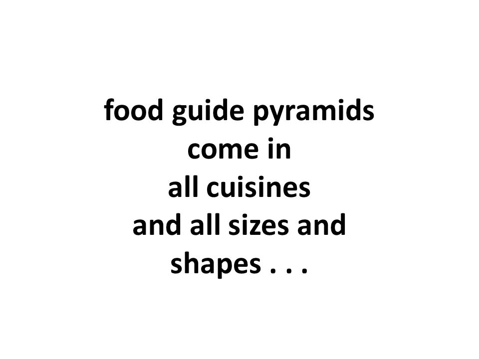 food guide pyramids come in all cuisines and all sizes and shapes...