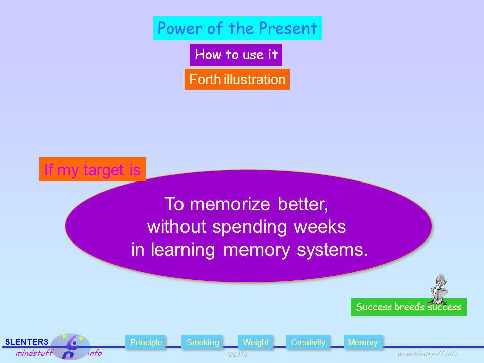 ©2013 SLENTERS mindstuff info www.mindstuff.info Power of the Present How to use it Success breeds success To memorize better, without spending weeks