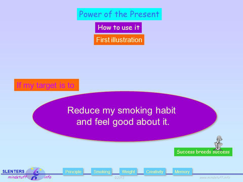 ©2013 SLENTERS mindstuff info   Power of the Present How to use it Success breeds success Reduce my smoking habit and feel good about it.