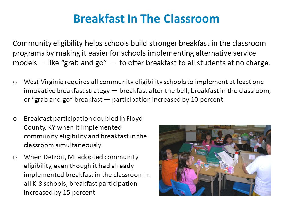 Breakfast In The Classroom Community eligibility helps schools build stronger breakfast in the classroom programs by making it easier for schools impl