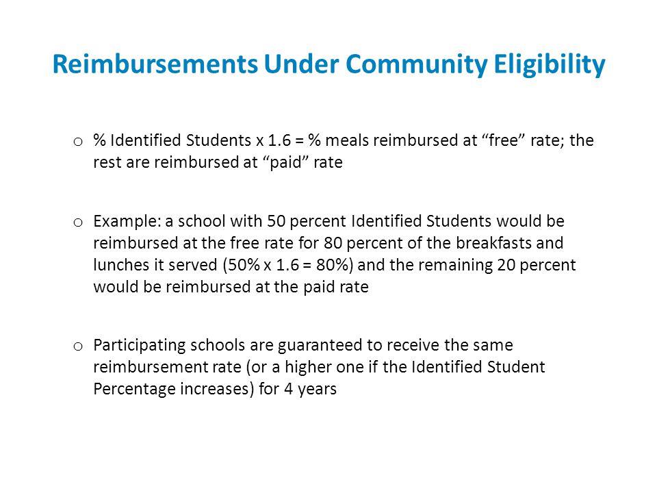 Reimbursements Under Community Eligibility o % Identified Students x 1.6 = % meals reimbursed at free rate; the rest are reimbursed at paid rate o Exa