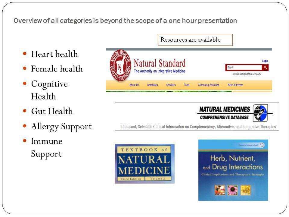Overview of all categories is beyond the scope of a one hour presentation Heart health Female health Cognitive Health Gut Health Allergy Support Immun