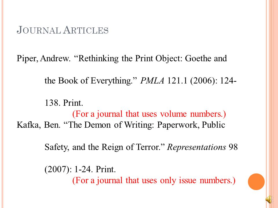 J OURNAL A RTICLES Piper, Andrew. Rethinking the Print Object: Goethe and the Book of Everything.