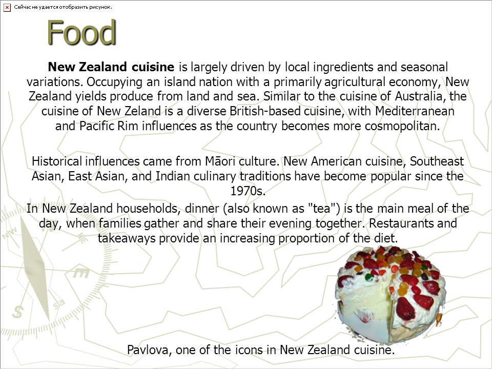 Food New Zealand cuisine is largely driven by local ingredients and seasonal variations.