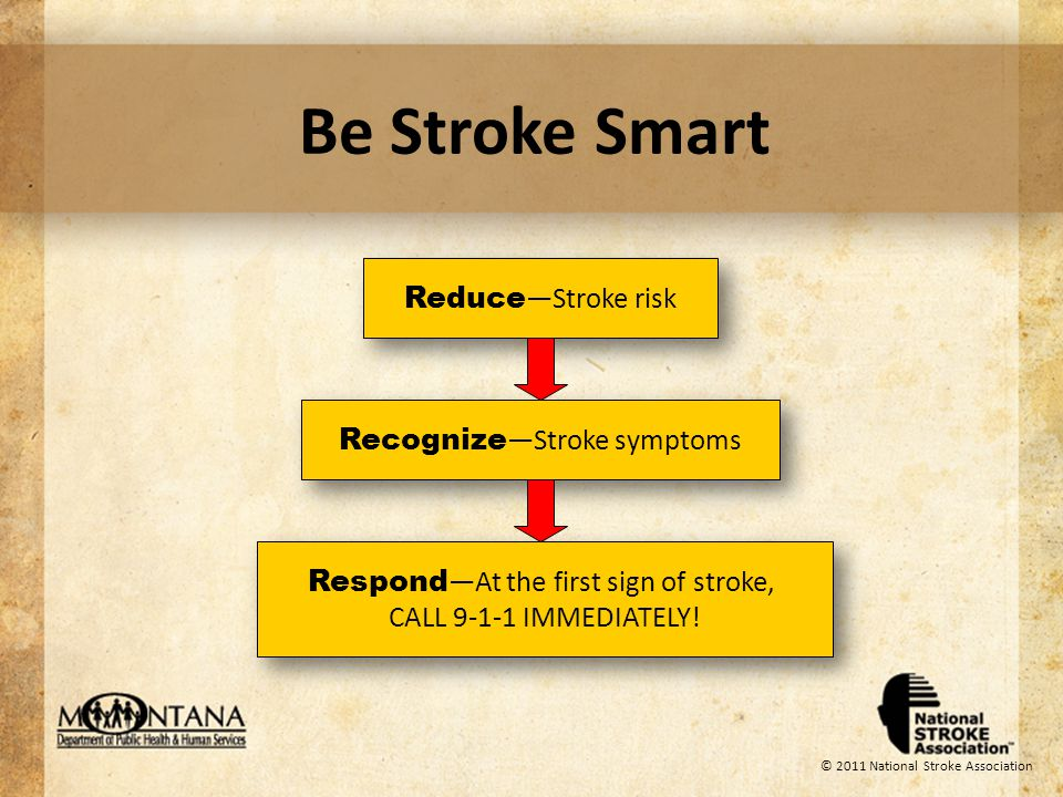 © 2011 National Stroke Association Reasons for Lack of Treatment People dont recognize symptoms 40% of stroke patients cant name a single sign of stroke or a stroke risk factor 75% of stroke victims misinterpret their symptoms 86% of patients believe that their symptoms arent serious enough to seek urgent care