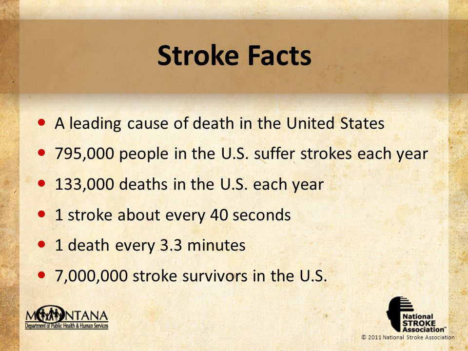 Stroke Facts The number one cause of adult disability Up to 80% of all strokes are preventable through risk factor management Stroke can happen at any age Risk doubles every decade after age 55 © 2011 National Stroke Association