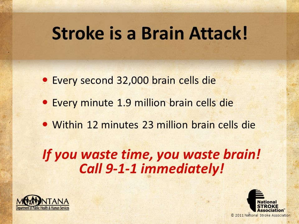 Stroke Symptoms Numbness or weakness of the face, arm or leg, especially on one side of the body Loss of vision, speech or understanding Trouble walking or dizziness Sudden severe headache or confusion If you, or someone you know, experience these symptoms, call 9-1-1 immediately!