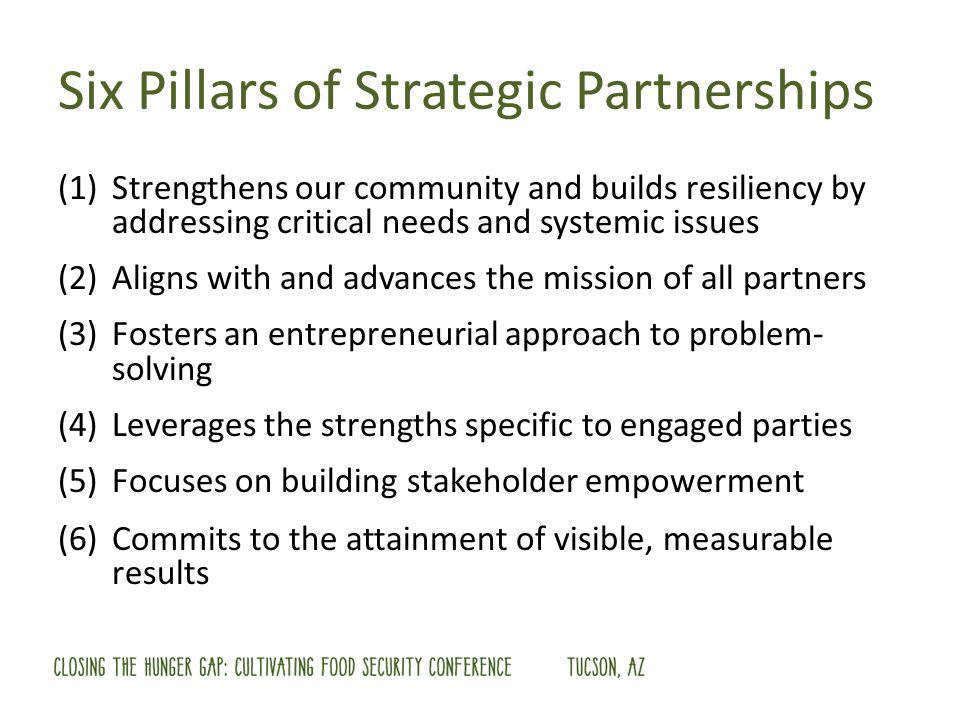 Six Pillars of Strategic Partnerships (1)Strengthens our community and builds resiliency by addressing critical needs and systemic issues (2)Aligns with and advances the mission of all partners (3)Fosters an entrepreneurial approach to problem- solving (4)Leverages the strengths specific to engaged parties (5)Focuses on building stakeholder empowerment (6)Commits to the attainment of visible, measurable results