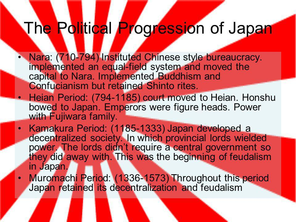 The Political Progression of Japan Nara: ( ) Instituted Chinese style bureaucracy.