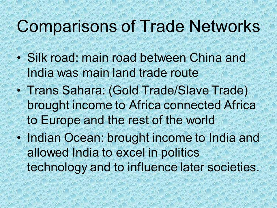 Comparisons of Trade Networks Silk road: main road between China and India was main land trade route Trans Sahara: (Gold Trade/Slave Trade) brought income to Africa connected Africa to Europe and the rest of the world Indian Ocean: brought income to India and allowed India to excel in politics technology and to influence later societies.