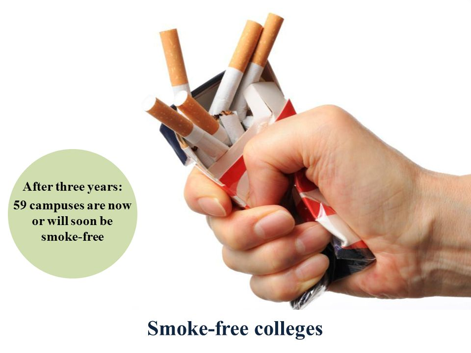 Smoke-free colleges After three years: 59 campuses are now or will soon be smoke-free