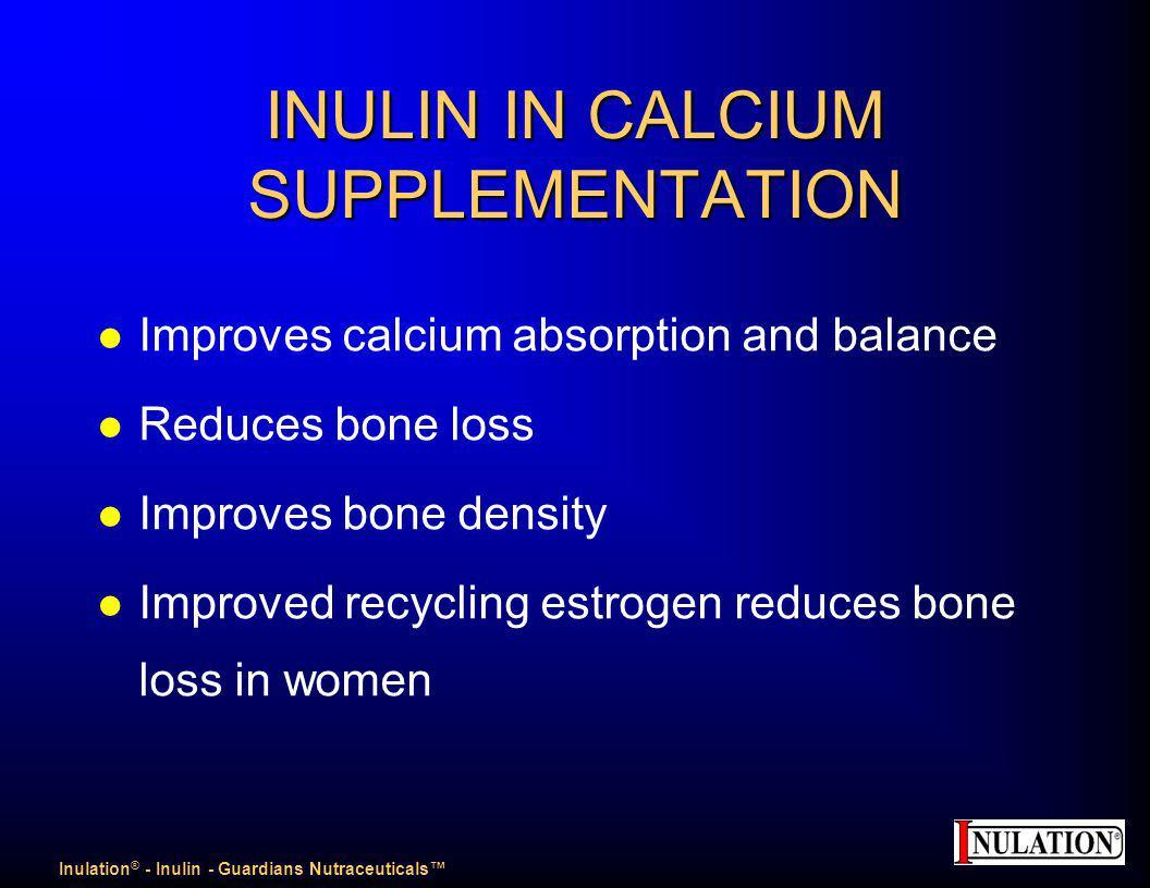 INULIN IN CALCIUM SUPPLEMENTATION l Improves calcium absorption and balance l Reduces bone loss l Improves bone density l Improved recycling estrogen reduces bone loss in women Inulation ® - Inulin - Guardians Nutraceuticals