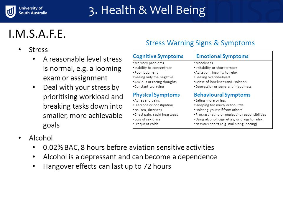 3. Health & Well Being I.M.S.A.F.E. Stress A reasonable level stress is normal, e.g.