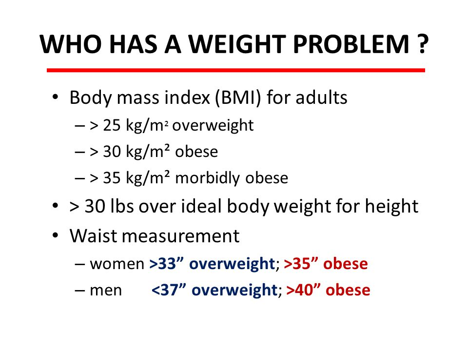 WHO HAS A WEIGHT PROBLEM .