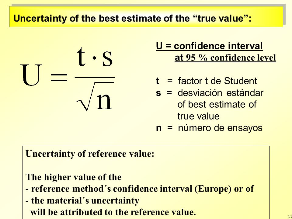 11 U = confidence interval at 95 % confidence level t = factor t de Student s = desviación estándar of best estimate of true value n = número de ensayos Uncertainty of the best estimate of the true value: Uncertainty of reference value: The higher value of the - reference method´s confidence interval (Europe) or of - the material´s uncertainty will be attributed to the reference value.