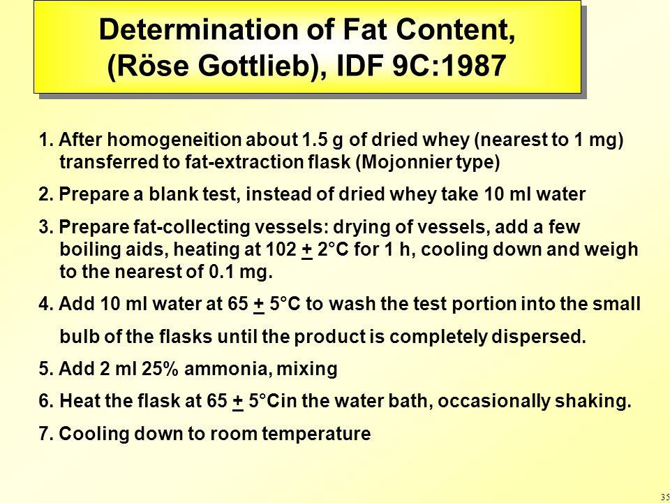 35 Determination of Fat Content, (Röse Gottlieb), IDF 9C:1987 Determination of Fat Content, (Röse Gottlieb), IDF 9C:1987 1.