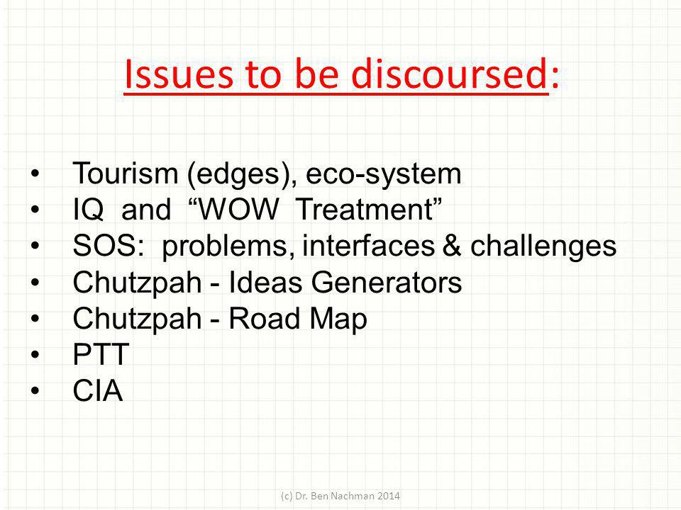 Issues to be discoursed: Tourism (edges), eco-system IQ and WOW Treatment SOS: problems, interfaces & challenges Chutzpah - Ideas Generators Chutzpah