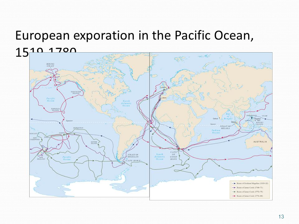 European exporation in the Pacific Ocean, 1519-1780. 13