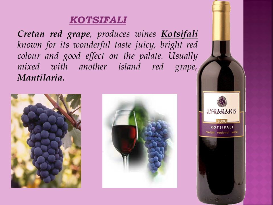 KOTSIFALI Cretan red grape, produces wines Kotsifali known for its wonderful taste juicy, bright red colour and good effect on the palate.