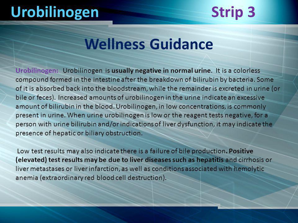 Urobilinogen Wellness Guidance Strip 3 Urobilinogen: Urobilinogen is usually negative in normal urine.